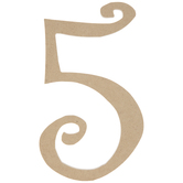 """Curly-Q Wood Number 5 - 8"""""""