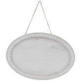 Distressed White Beaded Oval Wood Wall Decor