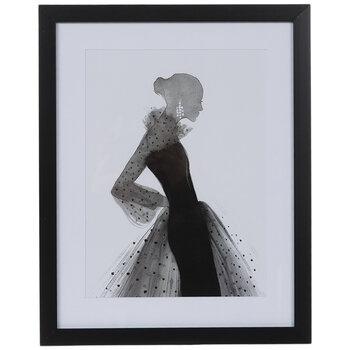 Polka Dot Dress Framed Wood Wall Decor