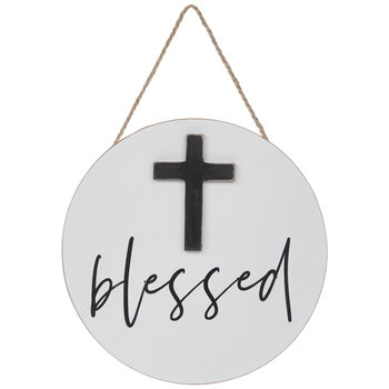 Blessed Wood Wall Cross In Circle