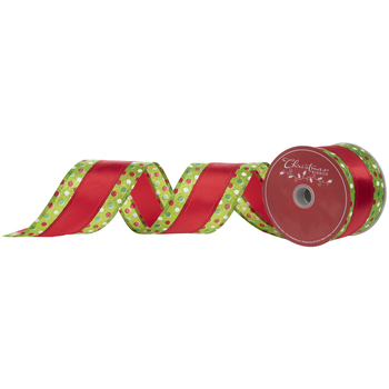 Red, Green & White Polka Dot Wired Edge Satin Ribbon - 2 1/2""