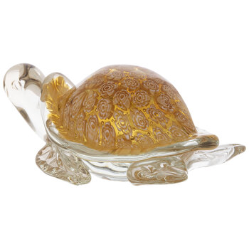 Amber Floral Glass Sea Turtle