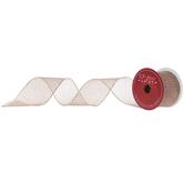 "Rose Gold Glitter Wired Edge Mesh Ribbon - 2 1/2"""