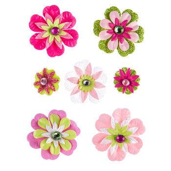 Green & Pink Glitter Flower Brad Embellishments