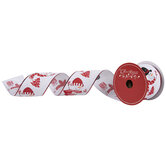"""Red & White Snowman Wired Edge Ribbon - 2 1/2"""""""