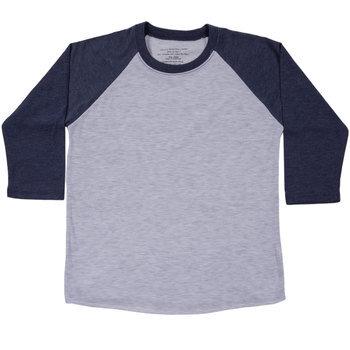 Heather Gray & Navy Youth Baseball Shirt - XL