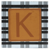 Plaid & Leather Letter Wood Wall Decor - K