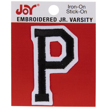 "Black Junior Varsity Letter Iron-On Applique P - 2"""
