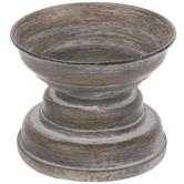 Gray & Brown Round Pedestal Candle Holder