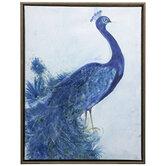 Blue Peacock Canvas Wall Decor