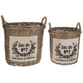 French Round Willow Basket Set