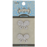 Rhinestone Bow Shank Buttons - 26mm
