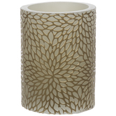 Embossed Gold Floral LED Pillar Candle