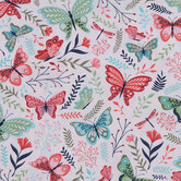 Pink & Green Butterfly Vine Cotton Calico Fabric