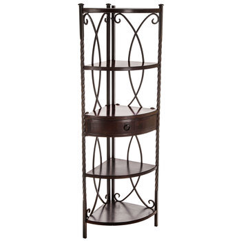 Five-Tiered Brown Corner Shelf With Drawer