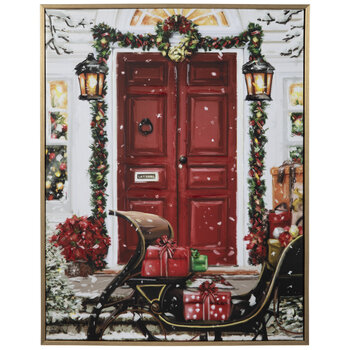 Red Door & Sleigh Canvas Wall Decor