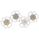 Distressed Carved Flowers Metal Wall Decor