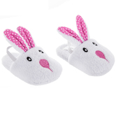 Pink & White Polka Dot Bunny Doll Slippers