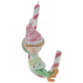 Mint Elf & Pink Candy Cane Ornament
