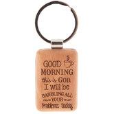 Good Morning Wood Keychain
