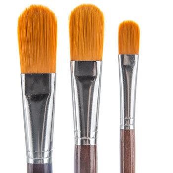 Golden Taklon Mop Paint Brushes - 3 Piece Set