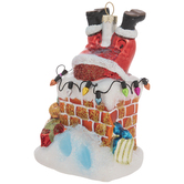 Chimney Santa Ornament