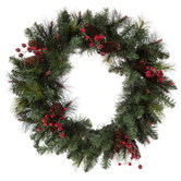 Pine Wreath With Pinecones & Berries - 24""