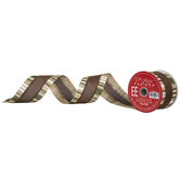"""Natural, Brown & Green Striped Wired Edge Ribbon - 2 1/2"""""""