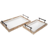 Rustic Wood Tray Set
