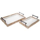Rustic Wood Tray Set