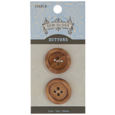 Natural Round Tire Wood Buttons - 22mm