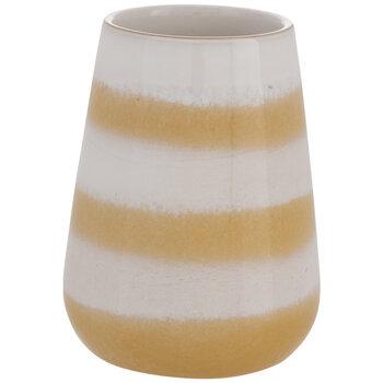 White & Yellow Striped Flower Pot