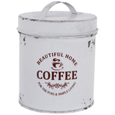Antique White Coffee Metal Canister