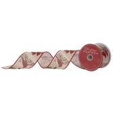 "Cardinals Wired Edge Burlap Ribbon - 2 1/2"""