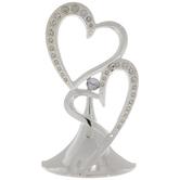 Silver Double Heart Rhinestone Cake Topper