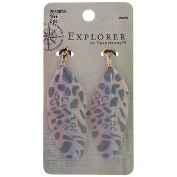 Rainbow Leopard Print Feather Pendants