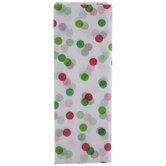 White, Green & Red Confetti Dots Tissue Paper