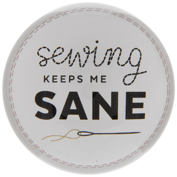 Sewing Keeps Me Sane Glass Paperweight