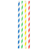 Primary Striped Paper Straws