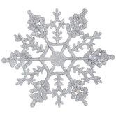 Silver Glitter Snowflake Ornaments