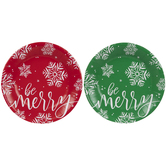 Be Merry Snowflake Paper Plates