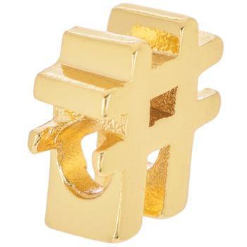 14K Gold Plated Cursive Letter Charm - Hashtag