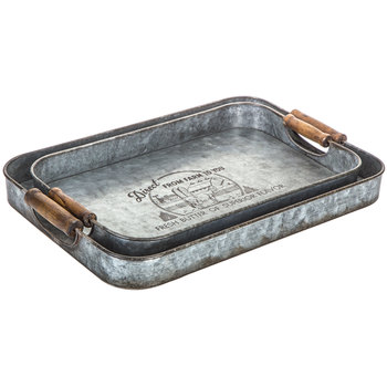 Galvanized Metal Tray Set with Handles