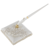 Ivory Floral Lace & Pearl Guest Pen