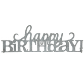 Silver Glitter Happy Birthday Decor