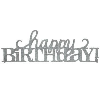 Silver Glitter Happy Birthday Decor