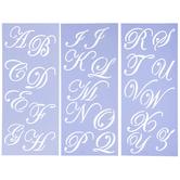 Uppercase Formal Script Alphabet Stencils