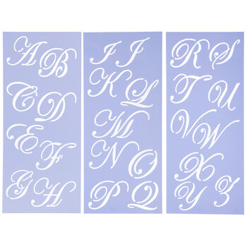 Uppercase Formal Script Alphabet Stencils - 3""