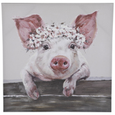 Pig With Floral Crown Canvas Wall Decor