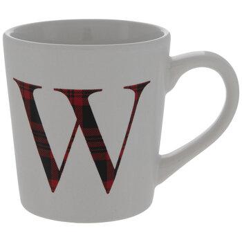Red Plaid Letter Mug - W